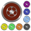 Color soccer ball buttons - Set of color glossy coin-like soccer ball buttons