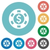 Flat Dollar casino chip icons - Flat Dollar casino chip icon set on round color background.