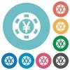 Flat Yen casino chip icons - Flat Yen casino chip icon set on round color background.