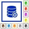 Database settings framed flat icons - Set of color square framed database settings flat icons