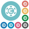 Flat Euro casino chip icons - Flat Euro casino chip icon set on round color background.