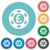 Flat Pound casino chip icons - Flat Pound casino chip icon set on round color background.