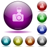 Camera with flash glass sphere buttons - Set of color camera with flash glass sphere buttons with shadows.