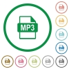 MP3 file format outlined flat icons - Set of MP3 file format color round outlined flat icons on white background