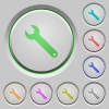 Set of color wrench sunk push buttons. - Wrench push buttons