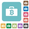 Flat Bitcoin bag icons - Flat Bitcoin bag icons on rounded square color backgrounds.