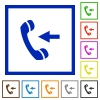 Incoming call framed flat icons - Set of color square framed incoming call flat icons