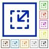 Resize element framed flat icons - Set of color square framed resize element flat icons