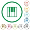 Set of Piano keyboard color round outlined flat icons on white background - Piano keyboard outlined flat icons