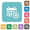 Flat calendar alarm icons - Flat calendar alarm icons on rounded square color backgrounds.