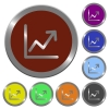 Color line graph buttons - Set of color glossy coin-like line graph buttons