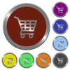 Color shopping cart buttons - Set of color glossy coin-like shopping cart buttons