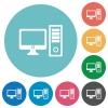 Flat desktop computer icons - Flat desktop computer icon set on round color background.
