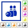 Bowling framed flat icons - Set of color square framed bowling flat icons
