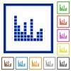 Sound bars framed flat icons - Set of color square framed sound bars flat icons