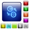 Color Euro Bitcoin exchange square buttons - Set of Euro Bitcoin exchange color glass rounded square buttons