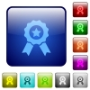 Set of award color glass rounded square buttons - Color award square buttons