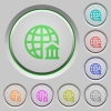 Internet banking push buttons - Set of color internet banking sunk push buttons.