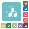 Flat cubes icons - Flat cubes icons on rounded square color backgrounds.