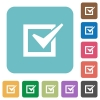 Flat checked box icons - Flat checked box icons on rounded square color backgrounds.