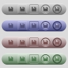 Save icons on menu bars - Save icons on rounded horizontal menu bars in different colors and button styles