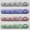 Radio group icons on menu bars - Radio group icons on rounded horizontal menu bars in different colors and button styles