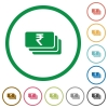 Indian Rupee banknotes outlined flat icons - Set of indian Rupee banknotes color round outlined flat icons on white background