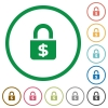 Locked Dollars outlined flat icons - Set of locked Dollars color round outlined flat icons on white background