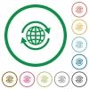 International outlined flat icons - Set of international color round outlined flat icons on white background