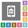 Mobile banking square flat icons - Mobile banking flat icon set on color square background.