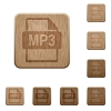 MP3 file format wooden buttons - Set of carved wooden MP3 file format buttons in 8 variations.