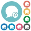 Flat find blog comment icons - Flat find blog comment icon set on round color background.