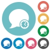 Flat blog comment time icons - Flat blog comment time icon set on round color background.
