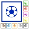 Soccer ball framed flat icons - Set of color square framed soccer ball flat icons