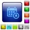 Color calendar alarm square buttons - Set of calendar alarm color glass rounded square buttons