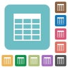 Flat Spreadsheet table icons - Flat Spreadsheet table icons on rounded square color backgrounds.