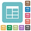 Flat Spreadsheet vertically merge table cells icons - Flat Spreadsheet vertically merge table cells icons on rounded square color backgrounds.
