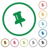 Push pin outlined flat icons - Set of push pin color round outlined flat icons on white background