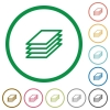 Printing papers outlined flat icons - Set of printing papers color round outlined flat icons on white background