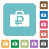 Flat Ruble bag icons - Flat Ruble bag icons on rounded square color backgrounds.