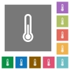 Thermometer square flat icons - Thermometer flat icon set on color square background.