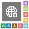 Internet banking square flat icons - Internet banking flat icon set on color square background.