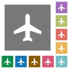 Airplane square flat icons - Airplane flat icon set on color square background.