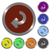 Color return arrow buttons - Set of color glossy coin-like return arrow buttons