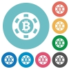 Flat Bitcoin casino chip icons - Flat Bitcoin casino chip icon set on round color background.