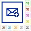 Add new mail framed flat icons - Set of color square framed Add new mail flat icons