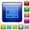 Color web layout square buttons - Set of web layout color glass rounded square buttons