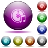 Audio CD glass sphere buttons - Set of color audio CD glass sphere buttons with shadows.