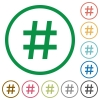 Hash tag outlined flat icons - Set of hash tag color round outlined flat icons on white background
