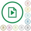 Playlist outlined flat icons - Set of playlist color round outlined flat icons on white background